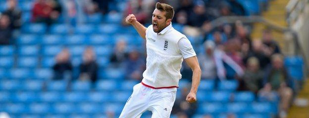Mark Wood celebrates a wicket