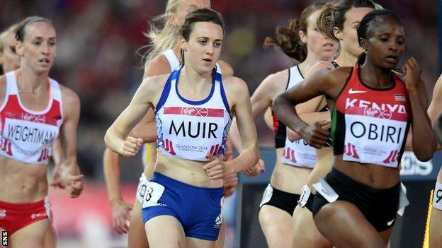 Laura Muir competes in the women's 1500m final of the 2014 Commonwealth Games