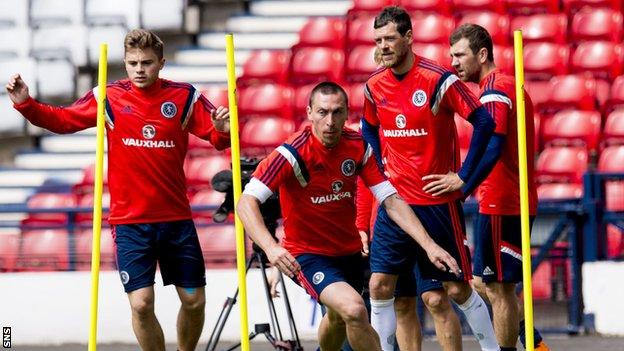 Scotland players prepare to face Qatar at the end of their respective domestic seasons