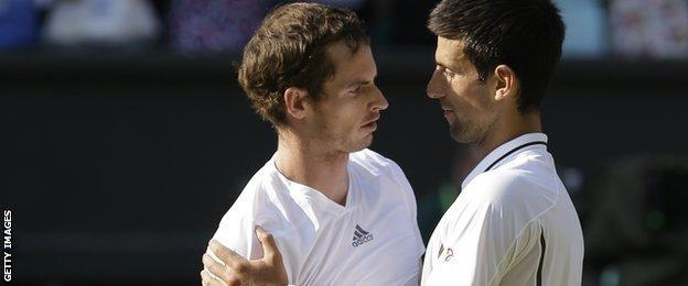 Novak Djokovic congratulates Andy Murray on his Wimbledon 2013 triumph