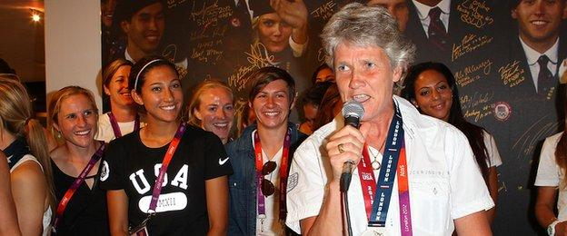 Pia Sundhage talks after the 2012 Olympics
