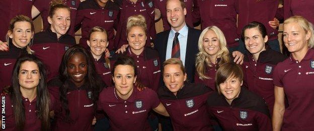 England's players meet the Duke of Cambridge