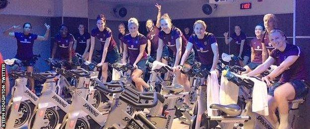 England's players undertake a spinning session in Toronto