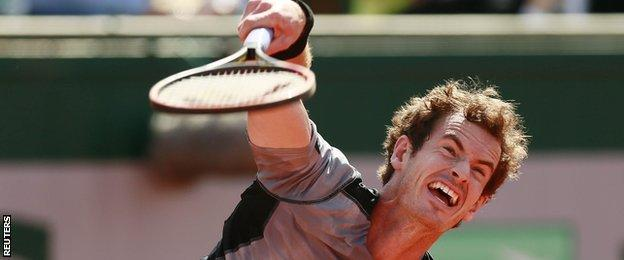 Andy Murray on serve at the French Open