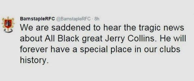 Barnstaple RFC Tweet