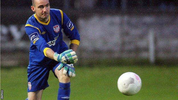 Derry keeper Gerard Doherty made two excellent saves against St Pat's