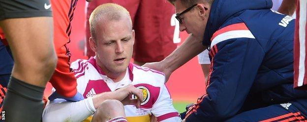 Scotland striker Steven Naismith sits injured