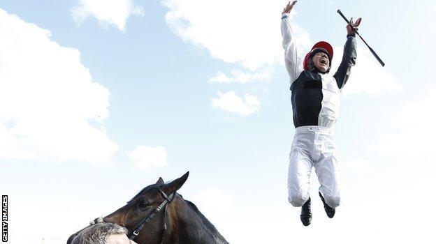 Frankie Dettori celebrates Epsom Derby win