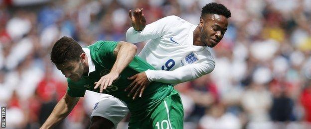 England winger Raheem Sterling (right) and Republic of Ireland's Robbie Brady
