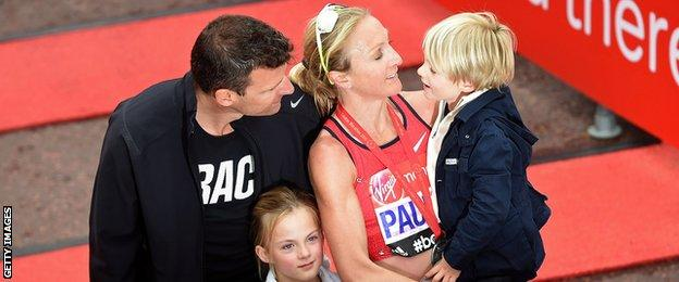 Paula Radcliffe with husband Gary and children Isla and Raphael