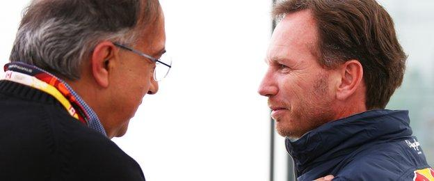 Sergio Marchionne and Christian Horner