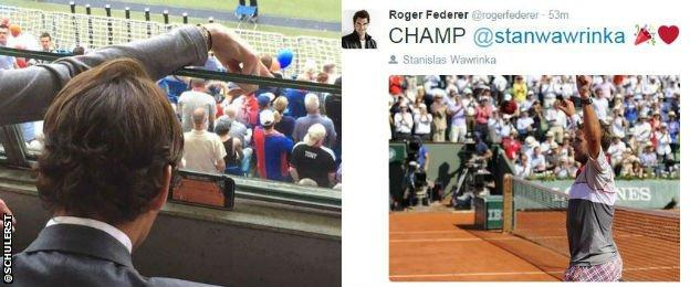 Roger Federer watching the game on his mobile phone and then tweeting