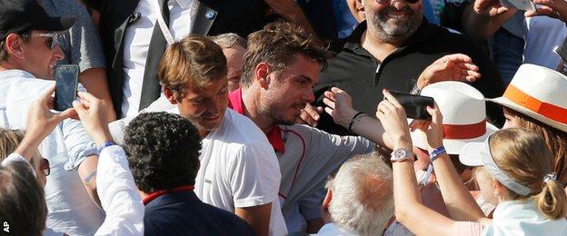 Stan Wawrinka in the stands at Roland Garros
