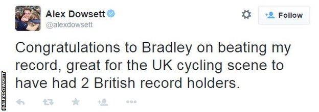 Alex Dowsett Bradley Wiggins congratulatory tweet