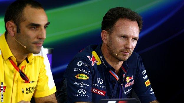 Red Bull team boss Christian Horner and Renault's Cyril Abiteboul
