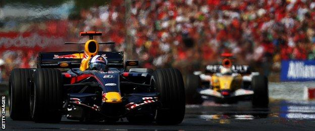 Red Bull driver David Coulthard in Hungary in 2007