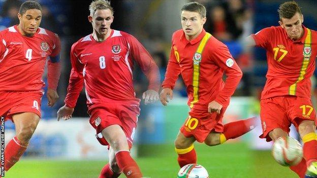 Ashley Williams, Jack Collison, Aaron Ramsey, Gareth Bale