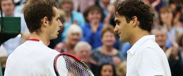 Andy Murray (left) with Roger Federer