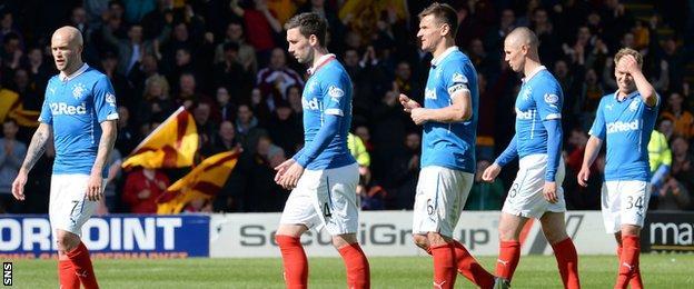 Rangers players looking dejected