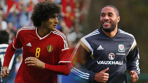 Marouane Fellaini and Ashley Williams both played in the 0-0 draw between Belgium and Wales in Euro 2016 qualifying in November.