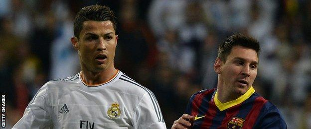 Cristiano Ronaldo (left) and Lionel Messi (right)