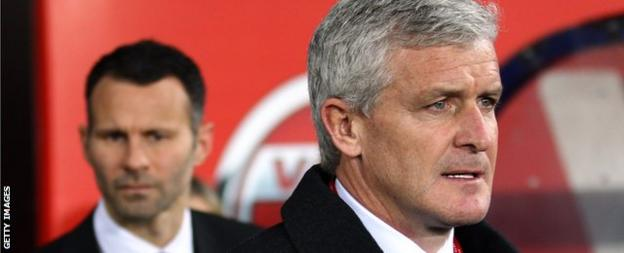 Mark Hughes (right) with Ryan Giggs (left)