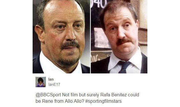 Rafa Benitez and Rene from 'Allo 'Allo