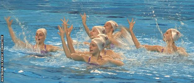 The Austrian synchro team in training prior to the accident