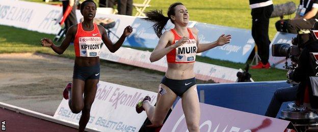 Britain's Laura Muir wins the 1,500m