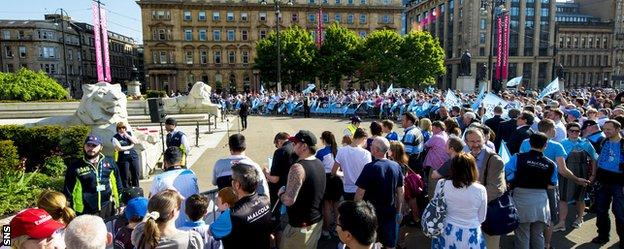 Glasgow Warriors fans gather in George Square