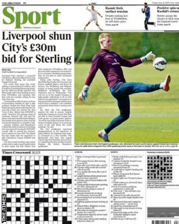 Friday's Times back page