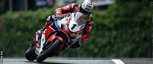 John McGuinness in action in Friday's Senior race at the Isle of Man TT