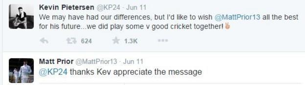 Tweets between Pietersen and Prior