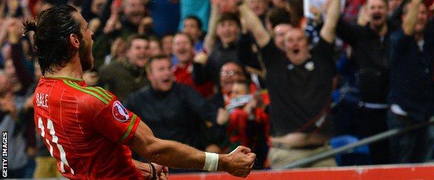 Christian Bale celebrates scoring for Wales