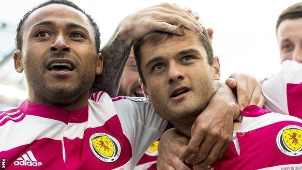 Ikechi Anya and Shaun Maloney celebrate Scotland's equaliser