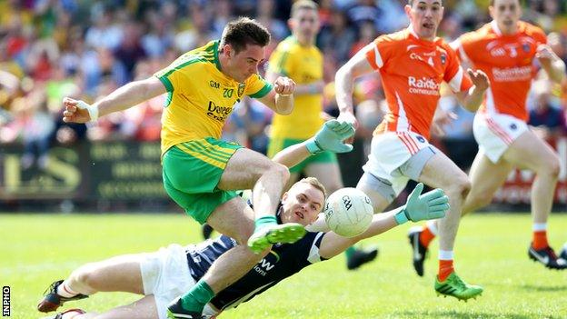 Martin O'Reilly scores Donegal's second goal against Armagh