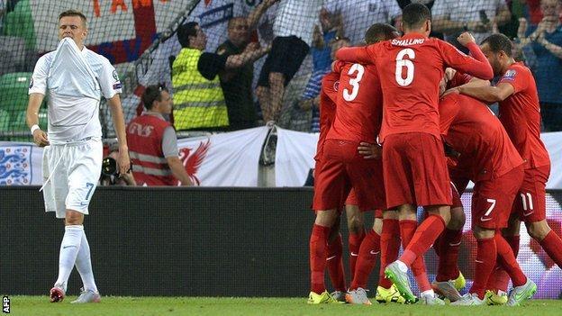 England celebrate scoring against Slovenia