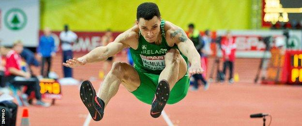 Adam McMullen in action at the European Indoor Championships in March