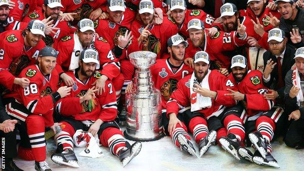 Chicago Blackhawks celebrate their Stanley Cup triumph