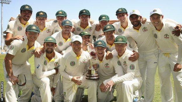 Australia with the Test series trophy