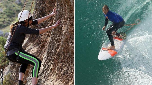 climbing and surfing
