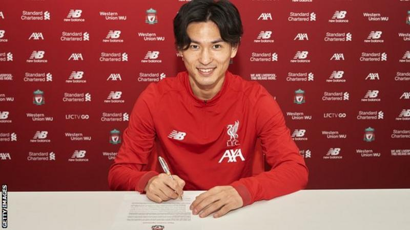 Takumi Minamino signing terms with the Premier League leaders on Wednesday