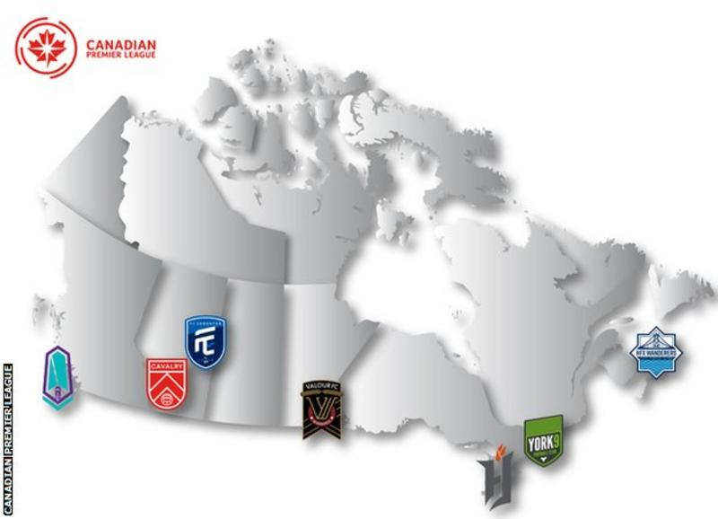 Map showing location of Canadian Premier League clubs