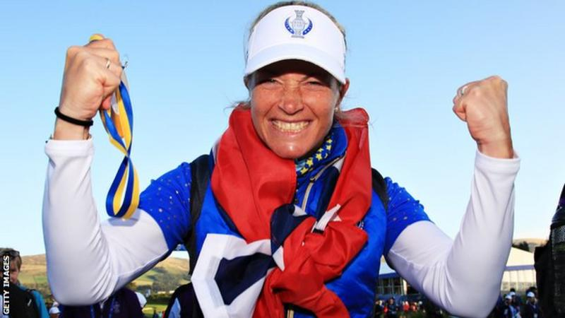 Suzann Pettersen's face says it all - this is how it feels to roll in the winning putt at the Solheim Cup