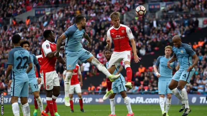 Arsenal and Manchester City met in the 2017 FA Cup semi-final at Wembley - the Gunners winning 2-1 in extra-time