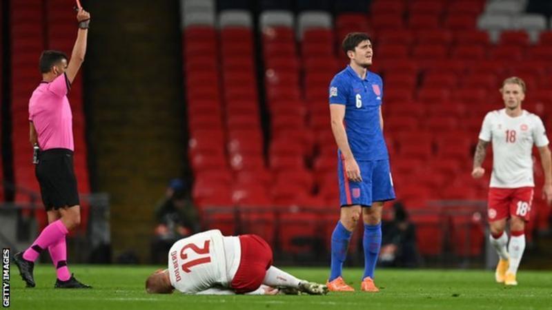تم طرد ماجواير خلال هزيمة إنجلترا أمام الدنمارك