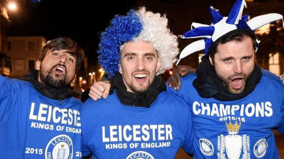 Leicester supporters celebrate title win