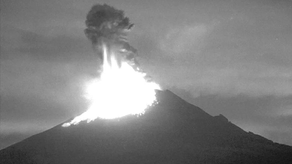 Mexico volcano spews ash