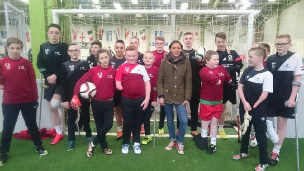 Young amputee footballers show off skills