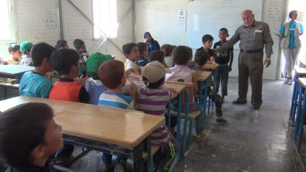 Going to school in a refugee camp